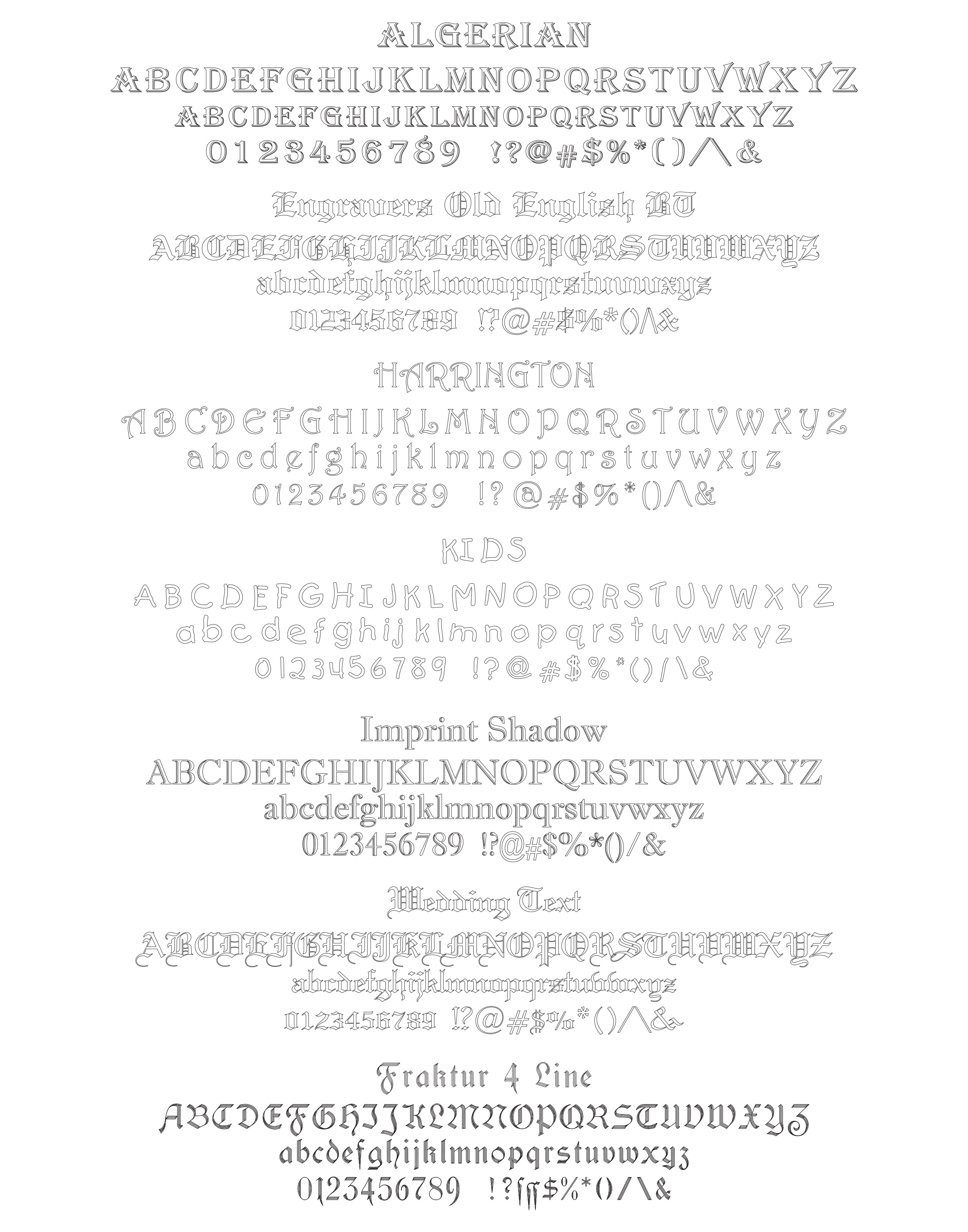 Font Styles | Farmers Engraving